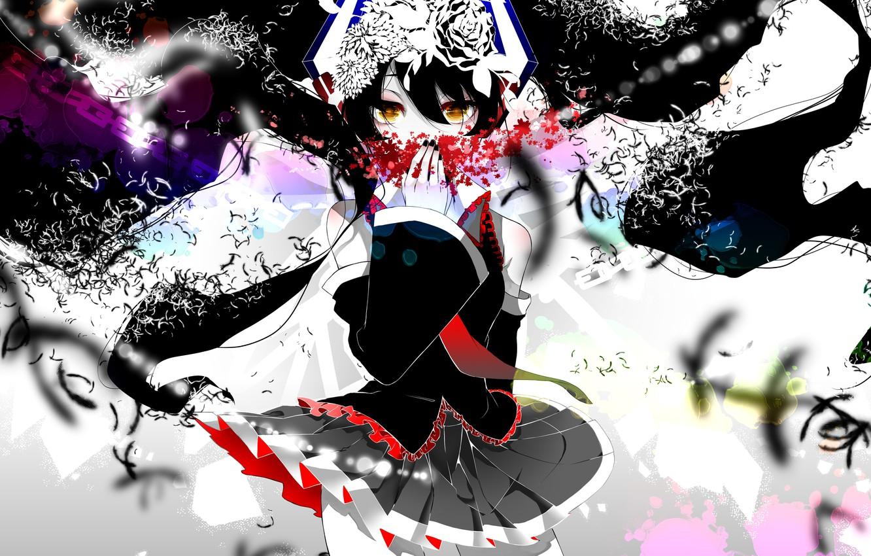 Photo wallpaper girl, flowers, anime, art, form, vocaloid, hatsune miku