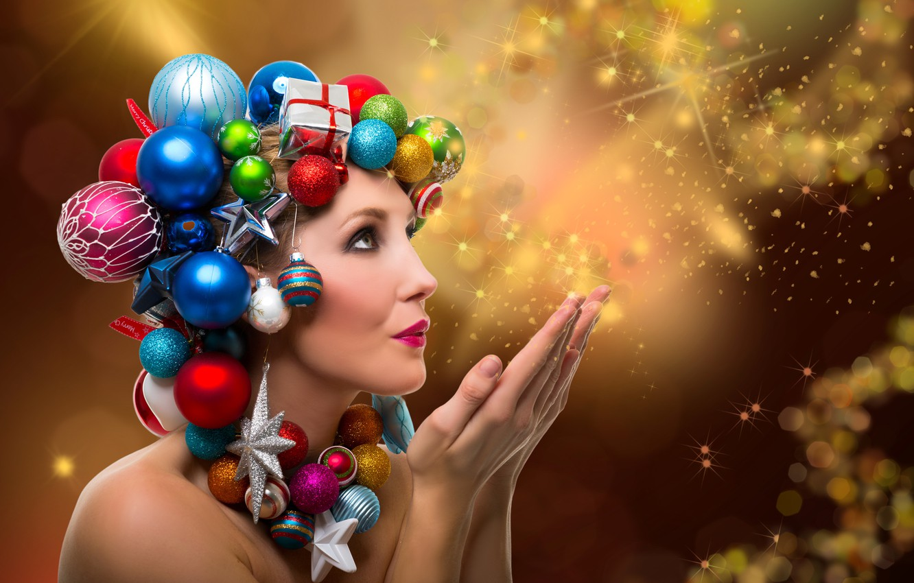 Photo wallpaper girl, balls, decoration, face, holiday, toys, new year