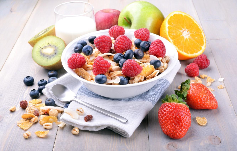 Photo wallpaper berries, raspberry, Breakfast, milk, blueberries, strawberry, fruit, cereals, fresh, berries, breakfast, muesli, muesli, healthy