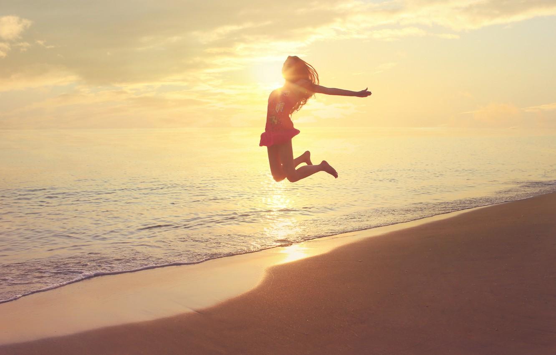 Photo wallpaper The sun, Sea, Beach, Girl, Jump