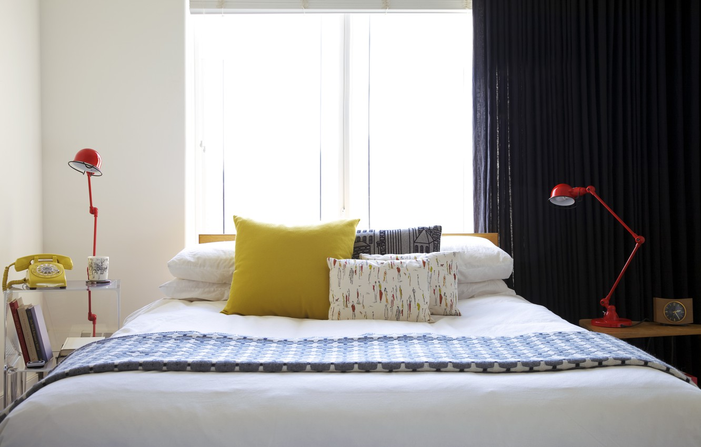 Photo wallpaper yellow, lamp, bed, pillow, window, phone
