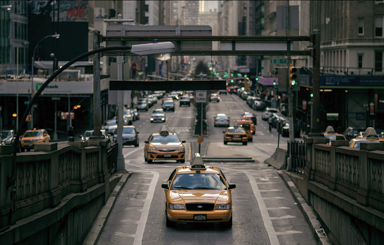 Photo wallpaper USA, New York, Taxi