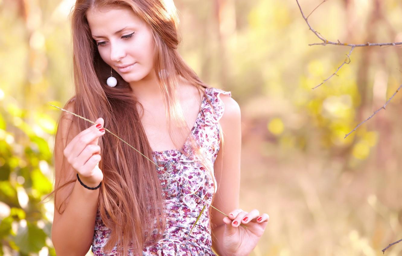 Photo wallpaper girl, ear, dress, brown hair, a blade of grass, jasmine