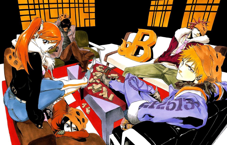 Photo wallpaper girl, art, guys, bleach, Ichigo Kurosaki, anime, Kuchiki Rukia, Orihime Inoue, abarai renji, Yasutora Sado