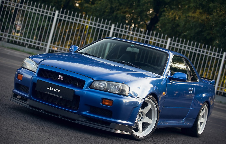 Photo wallpaper GTR, Nissan, white, wheels, Blue, Skyline, R34, V-SPEC