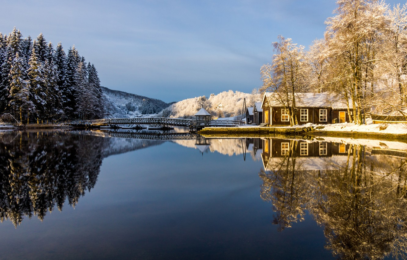 Photo wallpaper winter, frost, forest, the sky, snow, trees, lake, house, reflection, the bridge, gazebo