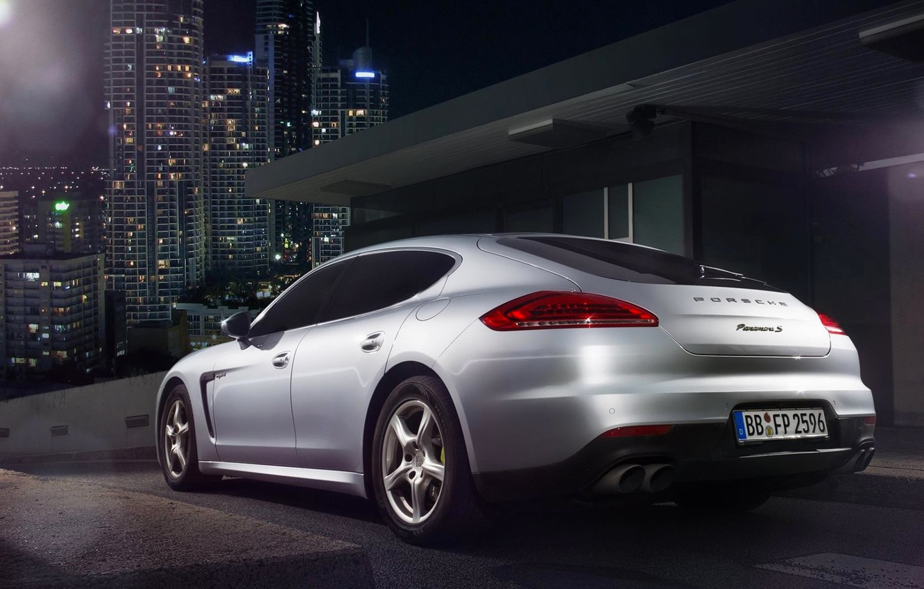 Photo wallpaper Porsche, City, Car, Silver, Rear, Ligth, Nigth, Scape, Panamera S