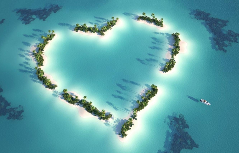Photo wallpaper Sea, Beach, Heart, Summer, Shore, Romance, Tropic, Natures