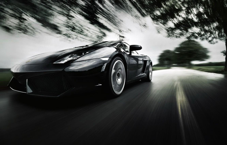 Photo wallpaper road, background, speed, blur, supercar, Lamborghini Gallardo