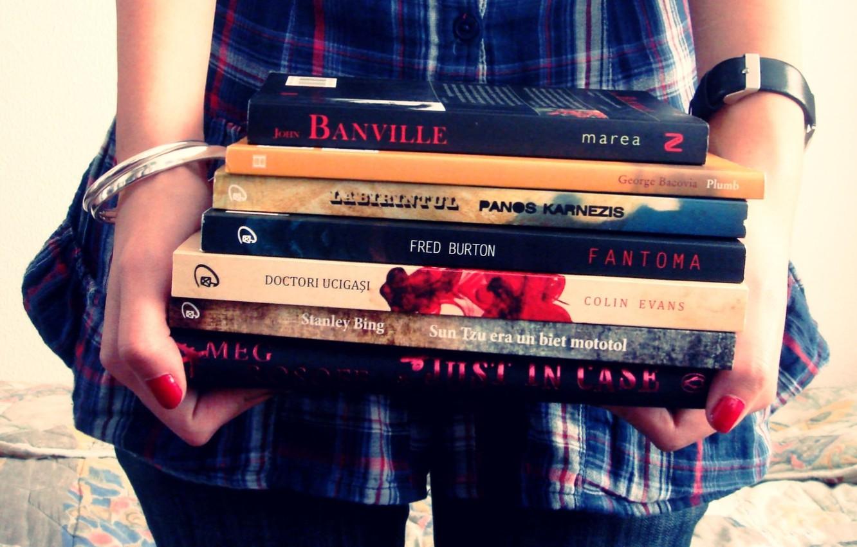 Photo wallpaper girl, study, books, hands