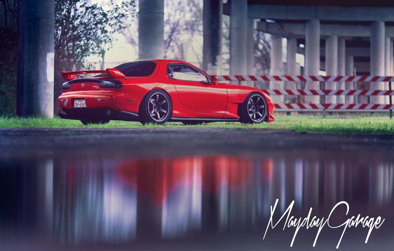 Photo wallpaper red, Mazda, rear, RX-7