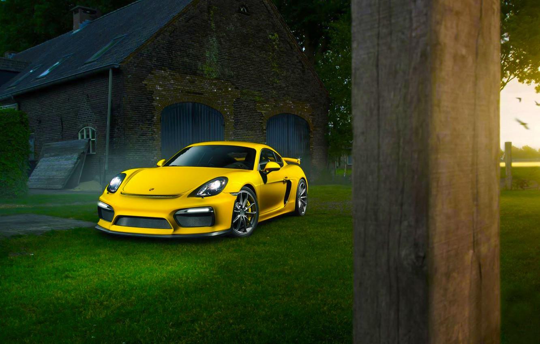 Photo wallpaper Porsche, Cayman, Grass, Front, Color, Yellow, Summer, Supercar, GT4