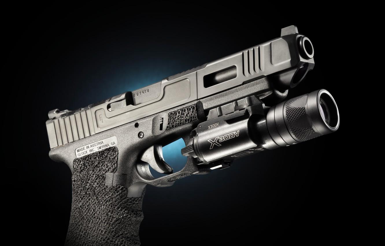 Photo wallpaper weapons, Austria, flashlight, Glock 34, self-loading pistol