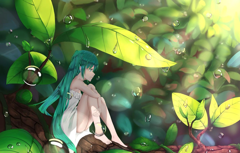 Photo wallpaper leaves, girl, anime, art, hatsune miku, Vocaloid, Vocaloid