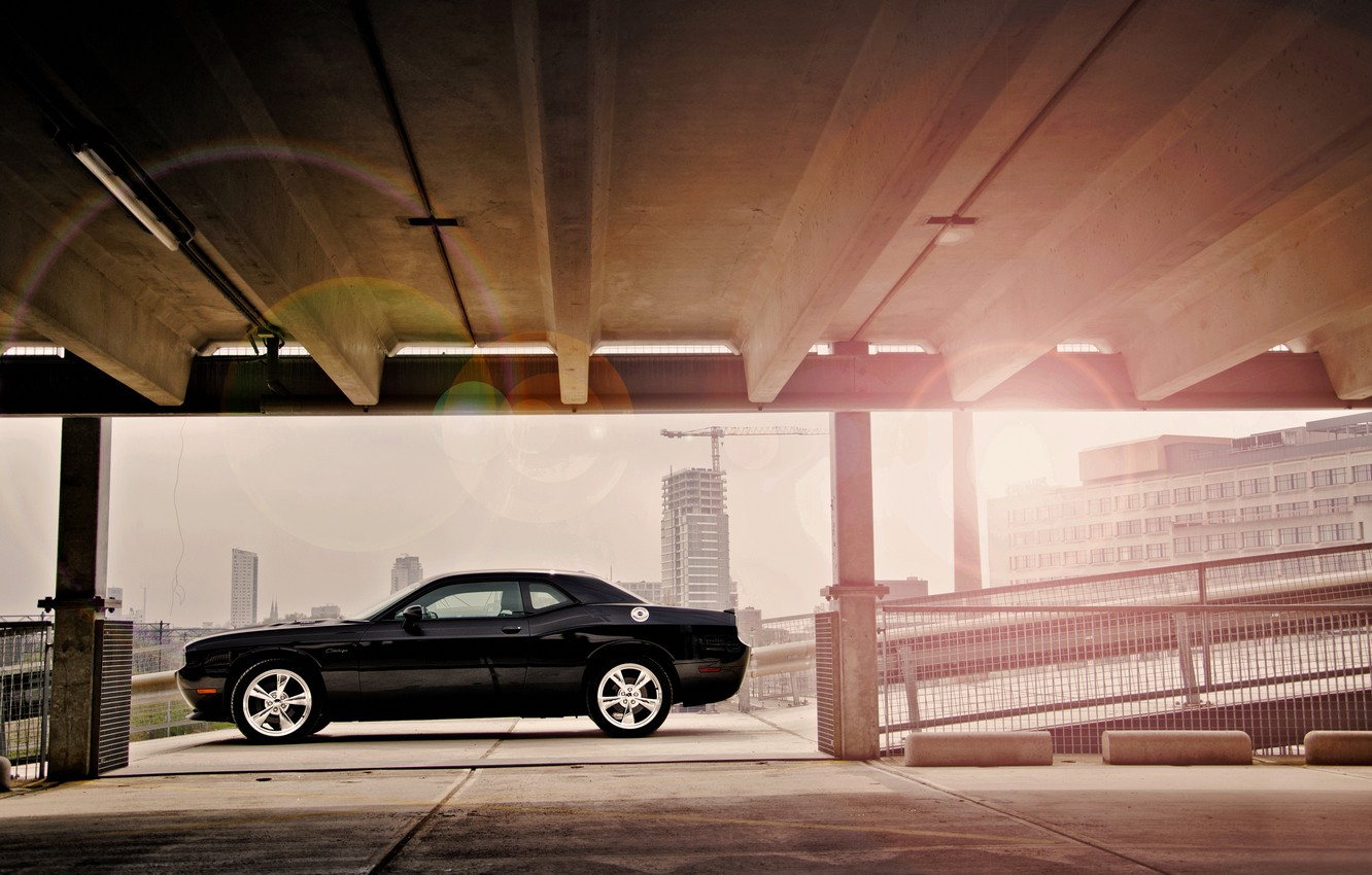 Photo wallpaper the city, glare, black, construction, Dodge, dodge, challenger, srt8, 392, chelenzher, срт8