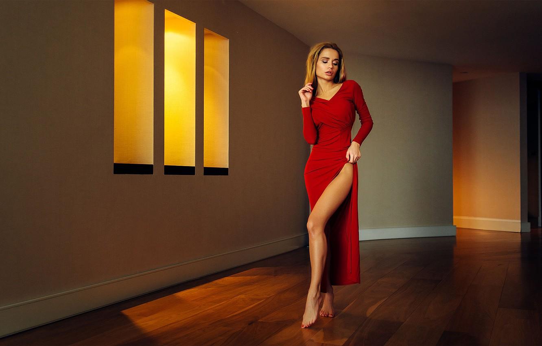 Photo wallpaper Light, Red, Legs, Yellow, Room, Dress, Katya
