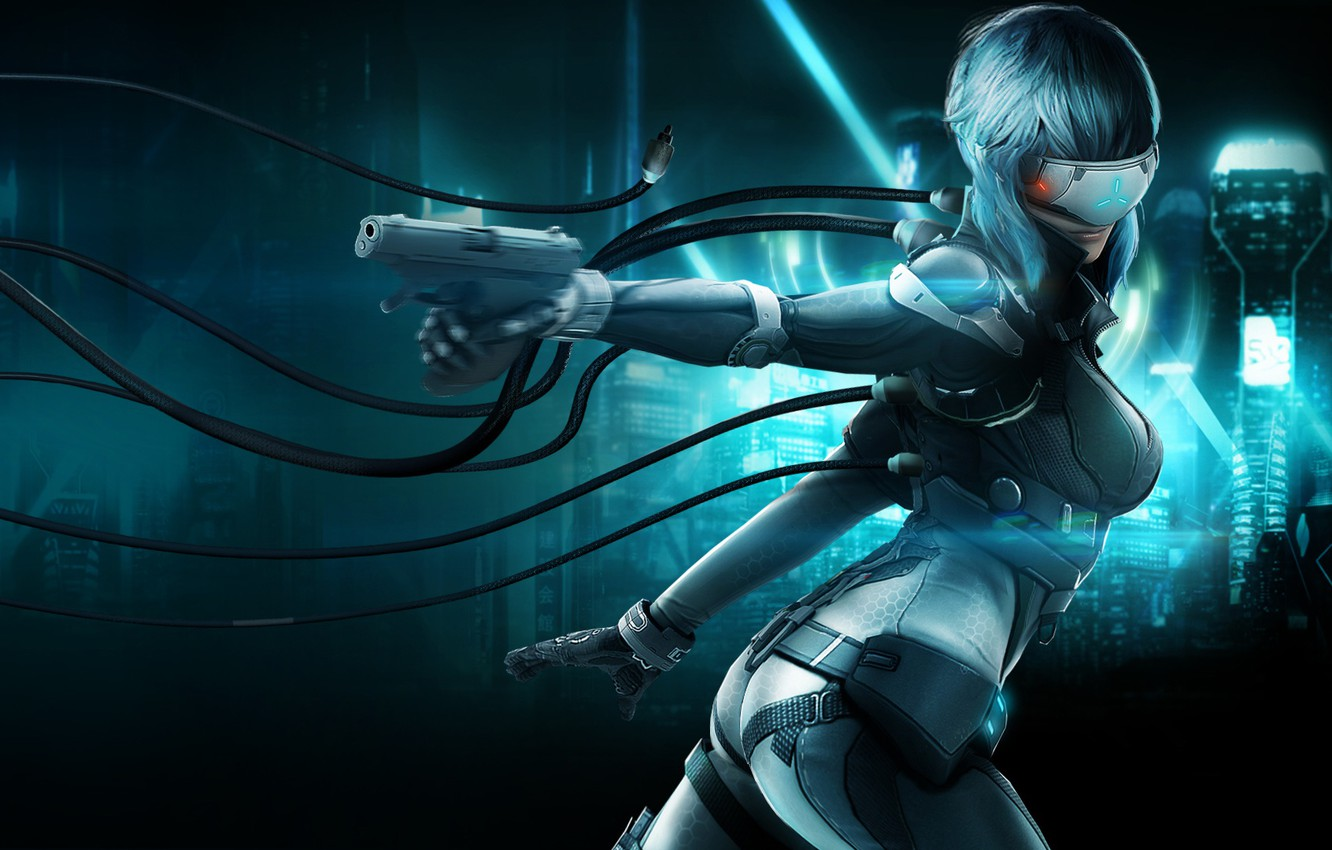 Photo wallpaper girl, gun, weapons, fiction, wire, glasses, costume, cyborg, Ghost in the Shell, Stand Alone Complex, …