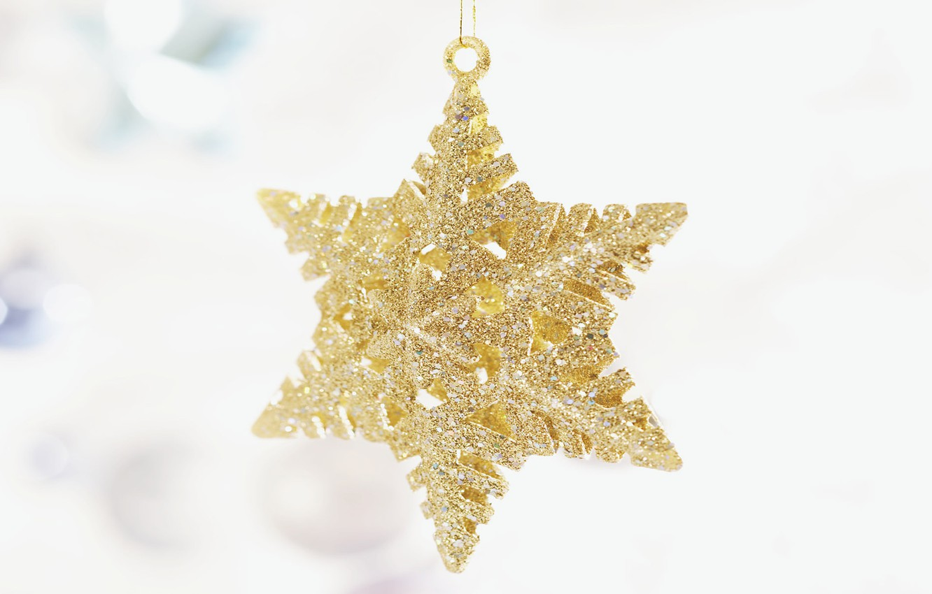 Photo wallpaper holiday, star, new year, Christmas, white background, decoration, christmas, new year, gold