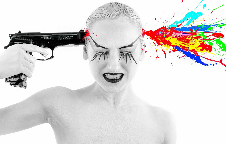 Photo wallpaper girl, gun, the situation, shot