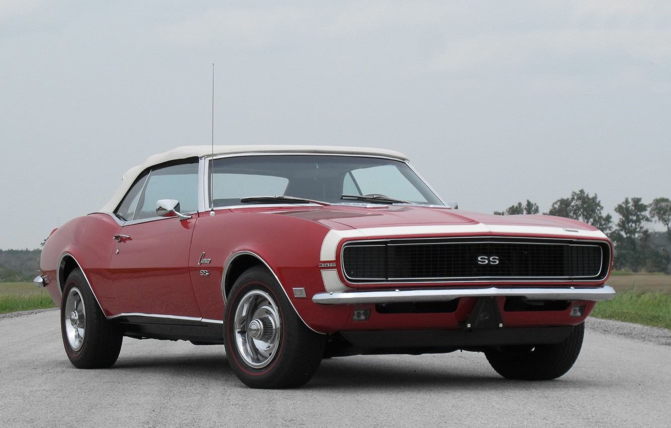 Photo wallpaper red, red, convertible, Chevrolet, muscle car, camaro, chevrolet, convertible, muscle car, 1968, chevy, Camaro, 396, …