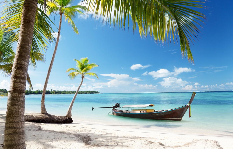 Photo wallpaper sand, sea, beach, the sky, the sun, tropics, palm trees, the ocean, shore, boat, summer, …