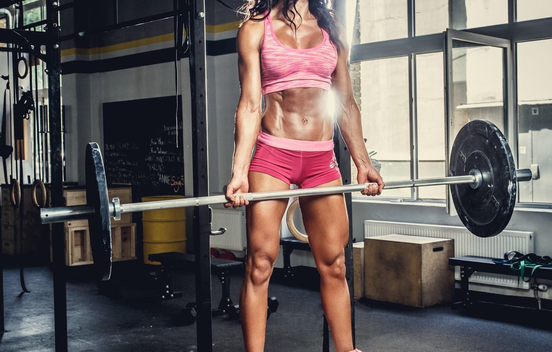 Photo wallpaper brunette, female, workout, gym, bodybuilder