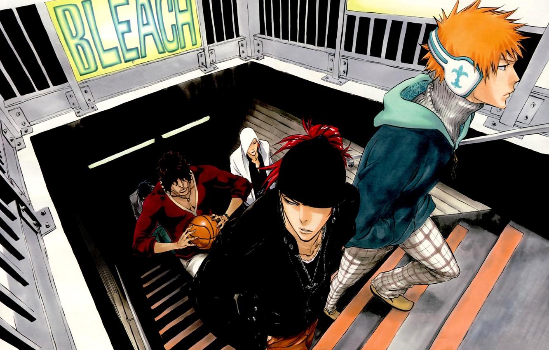 Photo wallpaper guys, bleach, Ichigo Kurosaki, anime, Yasutora Sado, Renji Abarai, Uryuu Ishida, Ikkaku Madarame