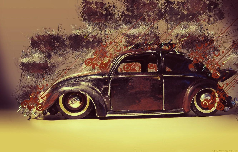 Photo wallpaper beetle, Volkswagen, Beetle, resto