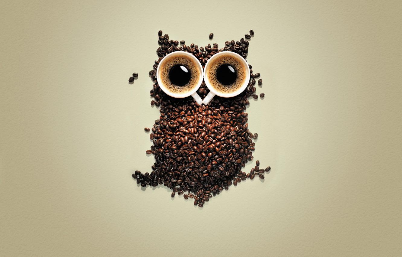 Photo wallpaper owl, coffee, grain, mugs