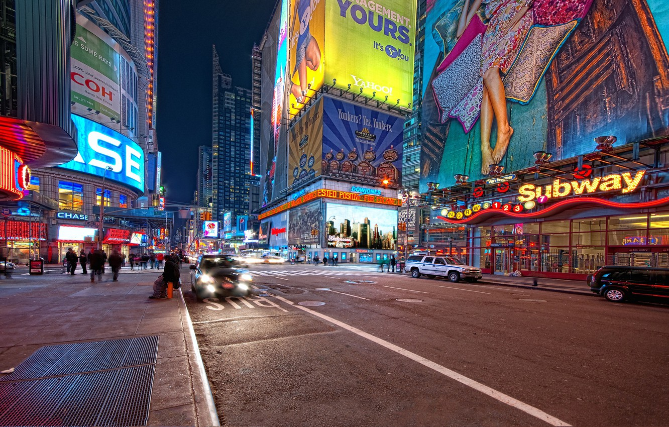 Photo wallpaper night, new York, night, new york, usa, nyc, Times Square, 42nd and 7th