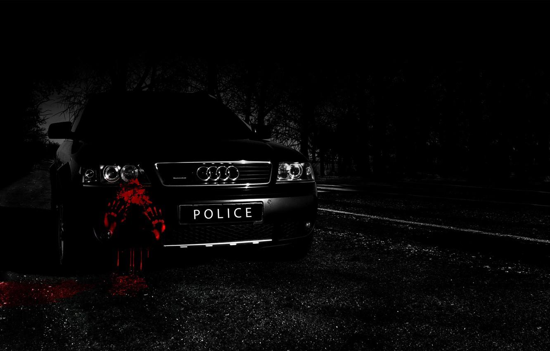 Photo wallpaper road, machine, forest, night, Audi, audi, black, blood, road, police, night, allroad, woods