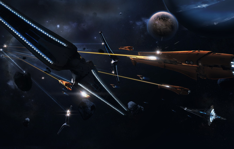 Photo wallpaper planet, ships, Battle, 158