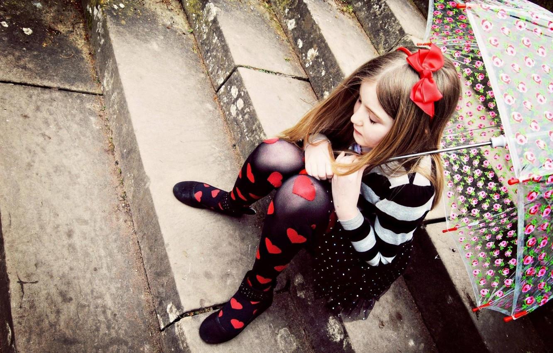 Photo wallpaper love, children, umbrella, heart, child, love, sad, umbrella, hearts, lonely, child, children, little girl, lonely, …