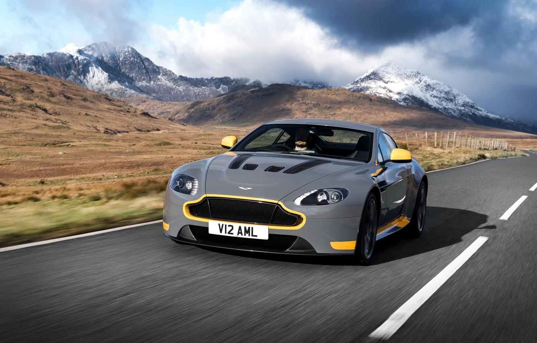 Photo wallpaper road, car, auto, Aston Martin, speed, Aston Martin, grey, yellow, V12, and, Vantage S, Sport-Plus …