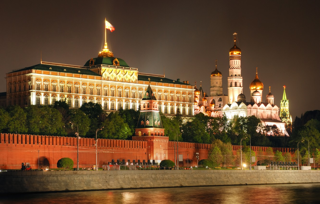 Photo wallpaper night, city, Moscow, The Kremlin, Russia, Russia, Moscow, Kremlin