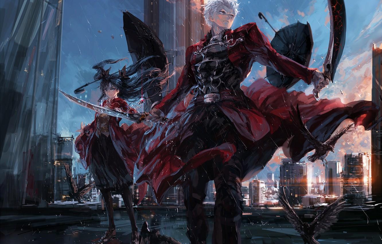 Photo wallpaper girl, anime, art, rin tohsaka, fate/stay night, archer, stu dts, upscale
