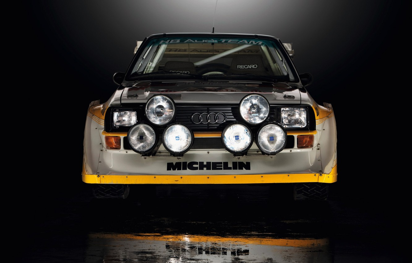 Photo wallpaper Audi, Reflection, Machine, Lights, Quattro, Rally, Sport, The front