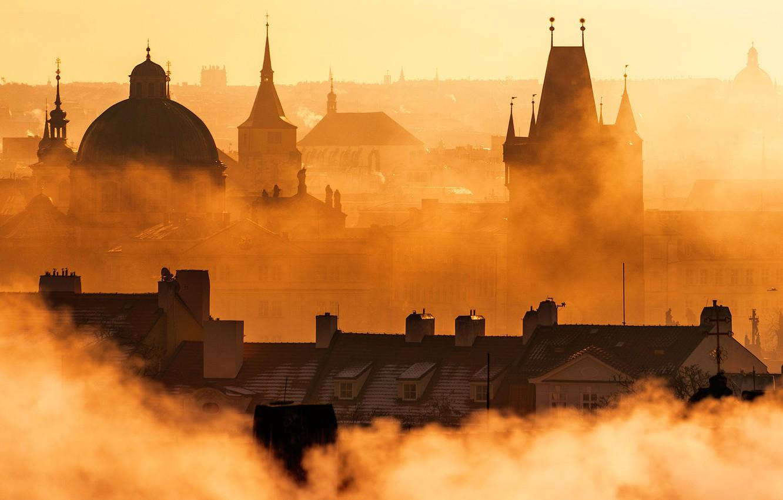Photo wallpaper sunset, Prague, Prague