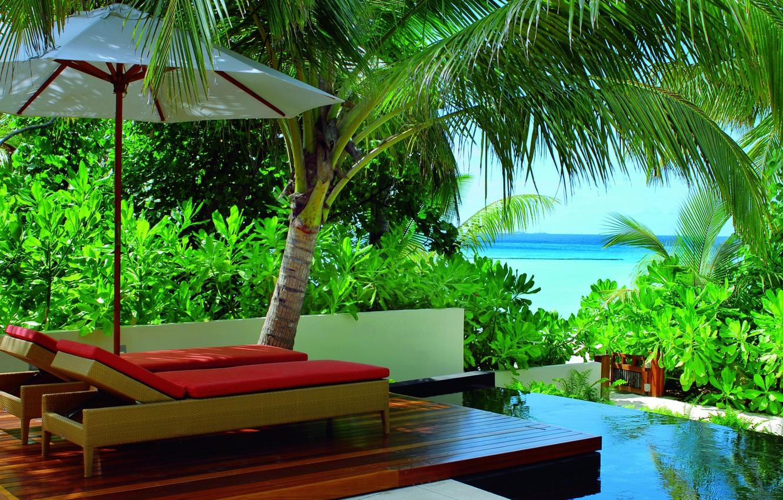 Photo wallpaper green, colors, colorful, summer, pool, sky, trees, sea, ocean, nature, umbrella, blue, beautiful, leaves, beauty, …