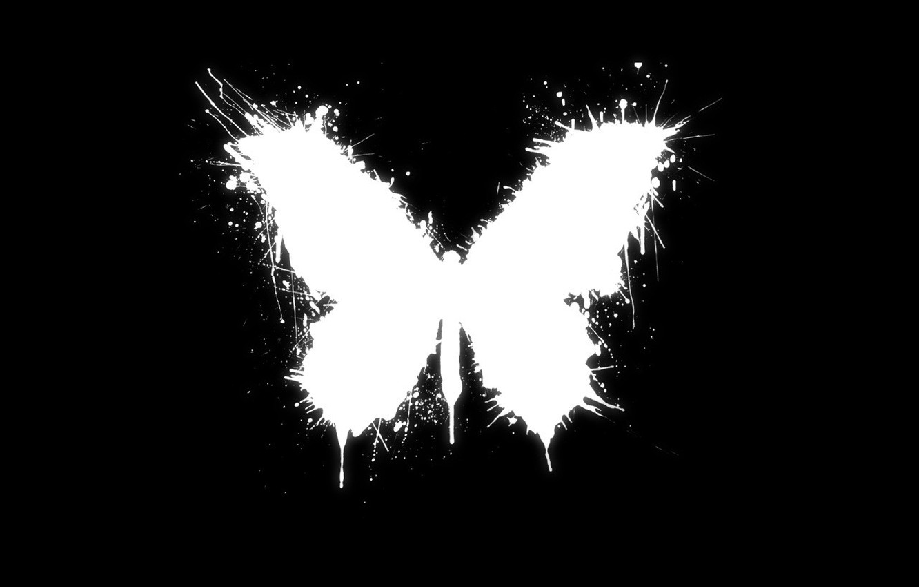 Photo wallpaper white, style, butterfly, black, blot, the accident, good luck, paint