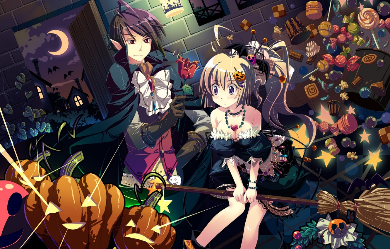 Photo wallpaper flower, girl, night, holiday, the moon, rose, anime, art, pumpkin, vampire, guy, bats, halloween, yamadori …