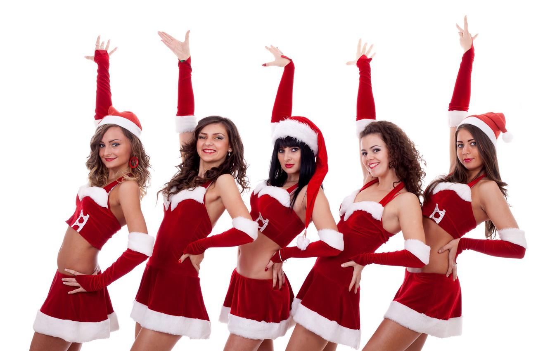 Photo wallpaper girls, holiday, new year, costumes