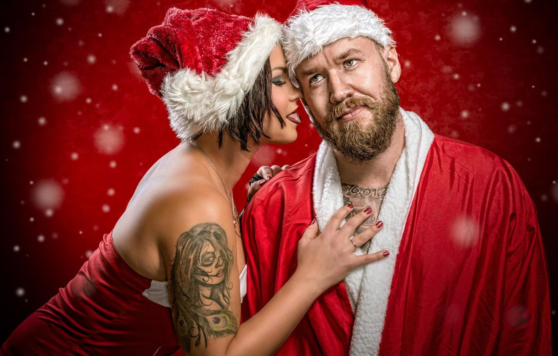 Photo wallpaper girl, man, tattoo, Santa Claus, cap, congratulations, Helena Shells, Jake Mattila