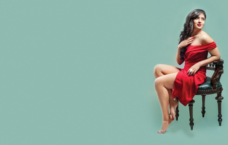 Photo wallpaper Legs, Models, Indian, Actress, Chair, Bollywood, Pose, Feet, Nikesha Patel