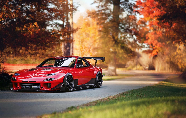 Photo wallpaper car, tuning, red, tuning, Mazda, rechange, Mazda RX-7