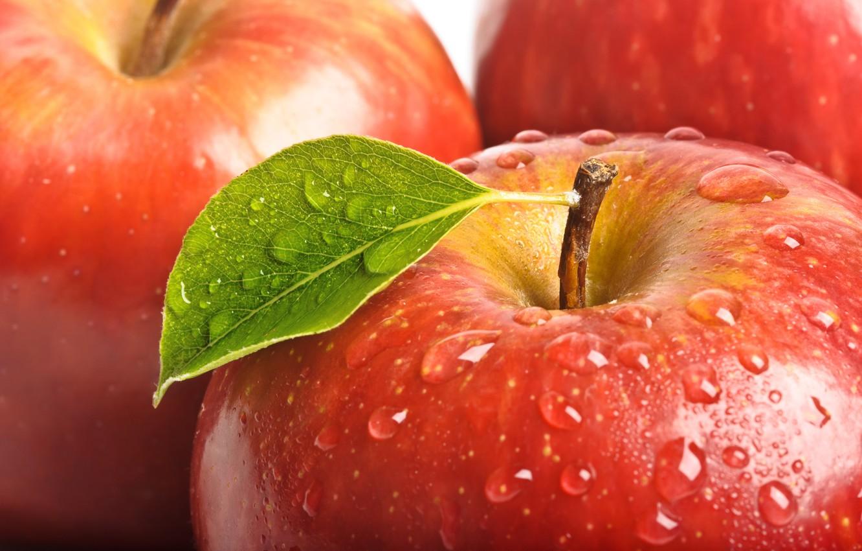 Photo wallpaper drops, macro, red, leaf, Apple, fruit