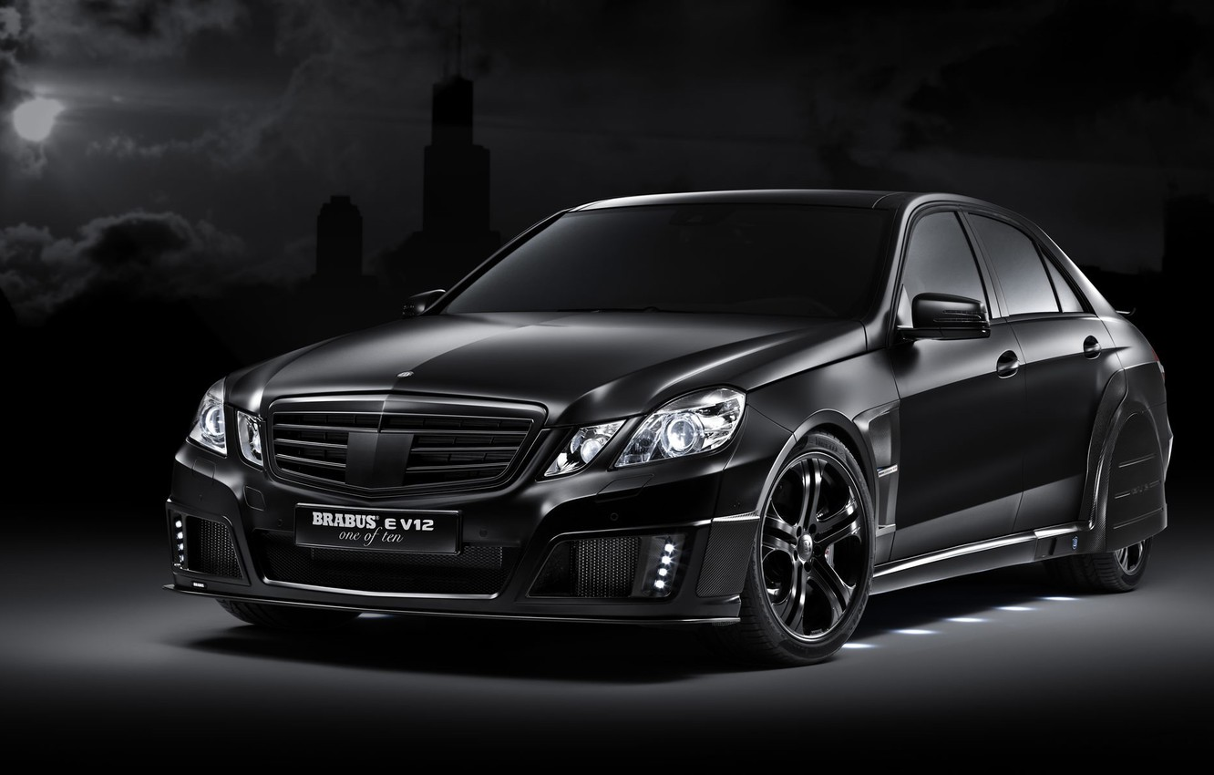 Photo wallpaper black, tuning, Mercedes-Benz, E V12, Brabus