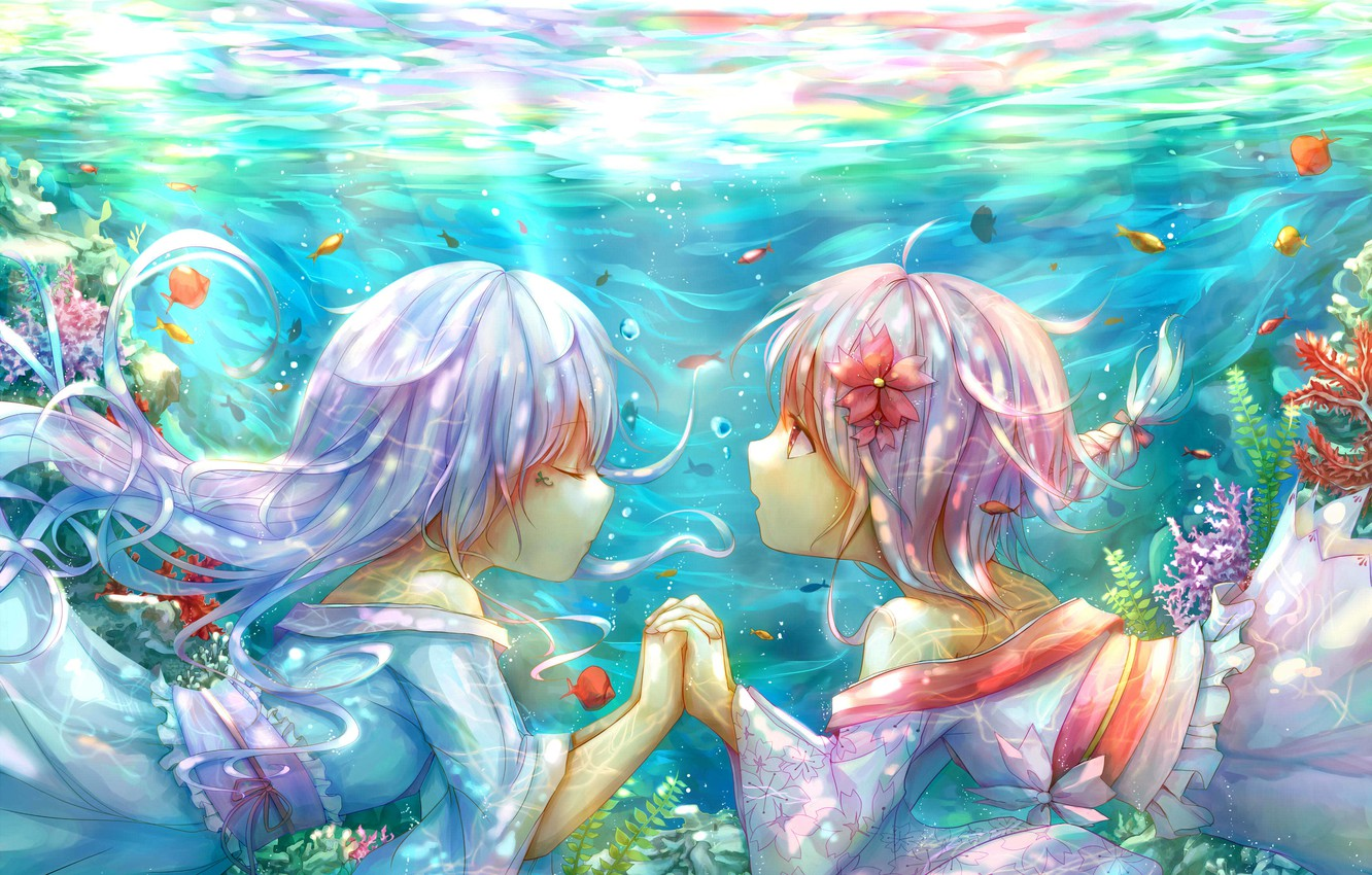 Photo wallpaper fish, flowers, girls, anime, art, kimono, under water