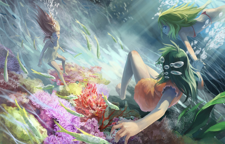 Photo wallpaper fish, girls, under water, Azoth