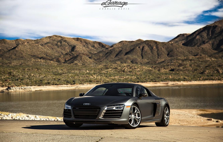 Photo wallpaper Audi, black, tuning, V10, eGarage, r8